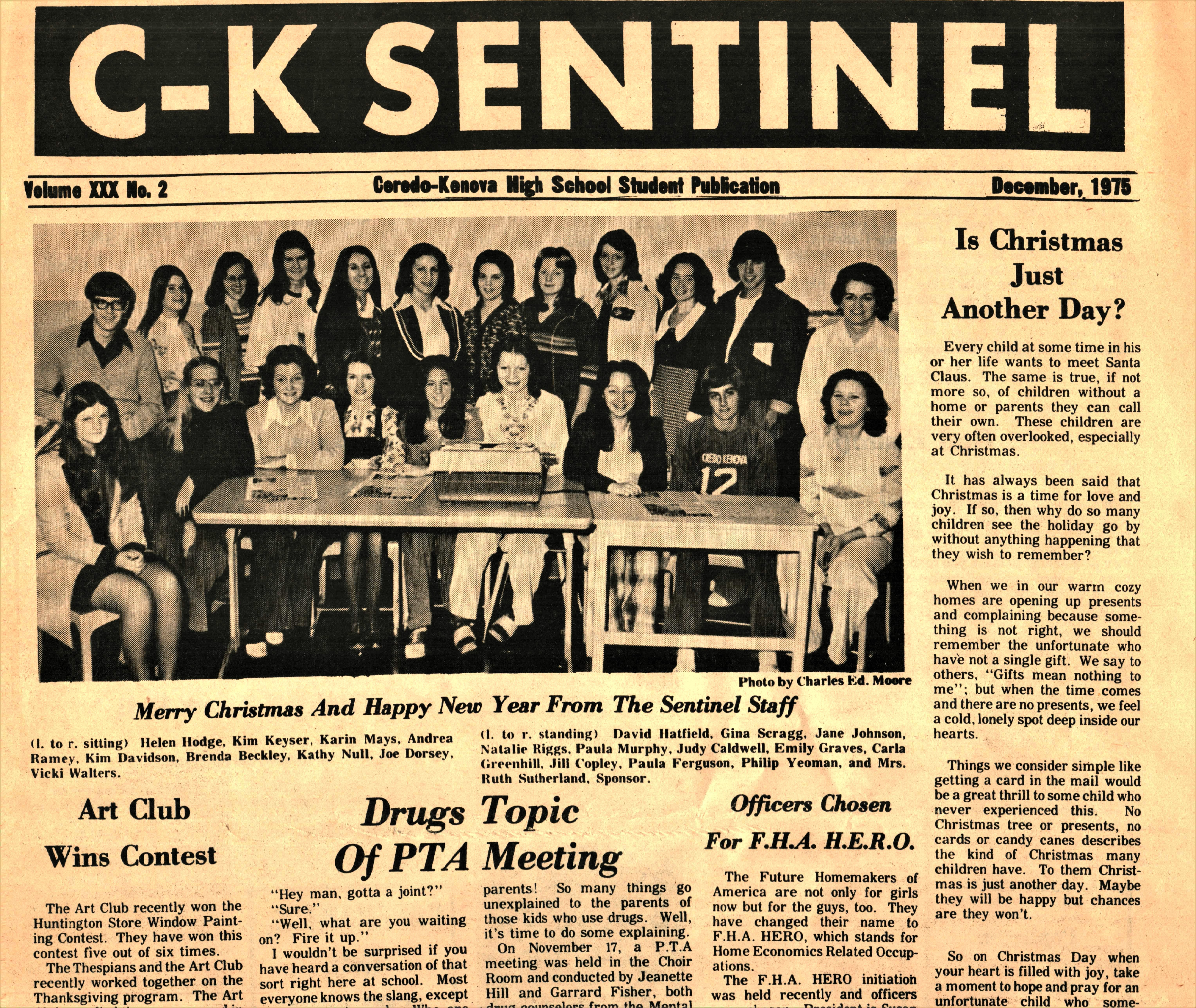 The school newspaper, The C-K Sentinel. Courtesy of the Ceredo Historical Society Museum.