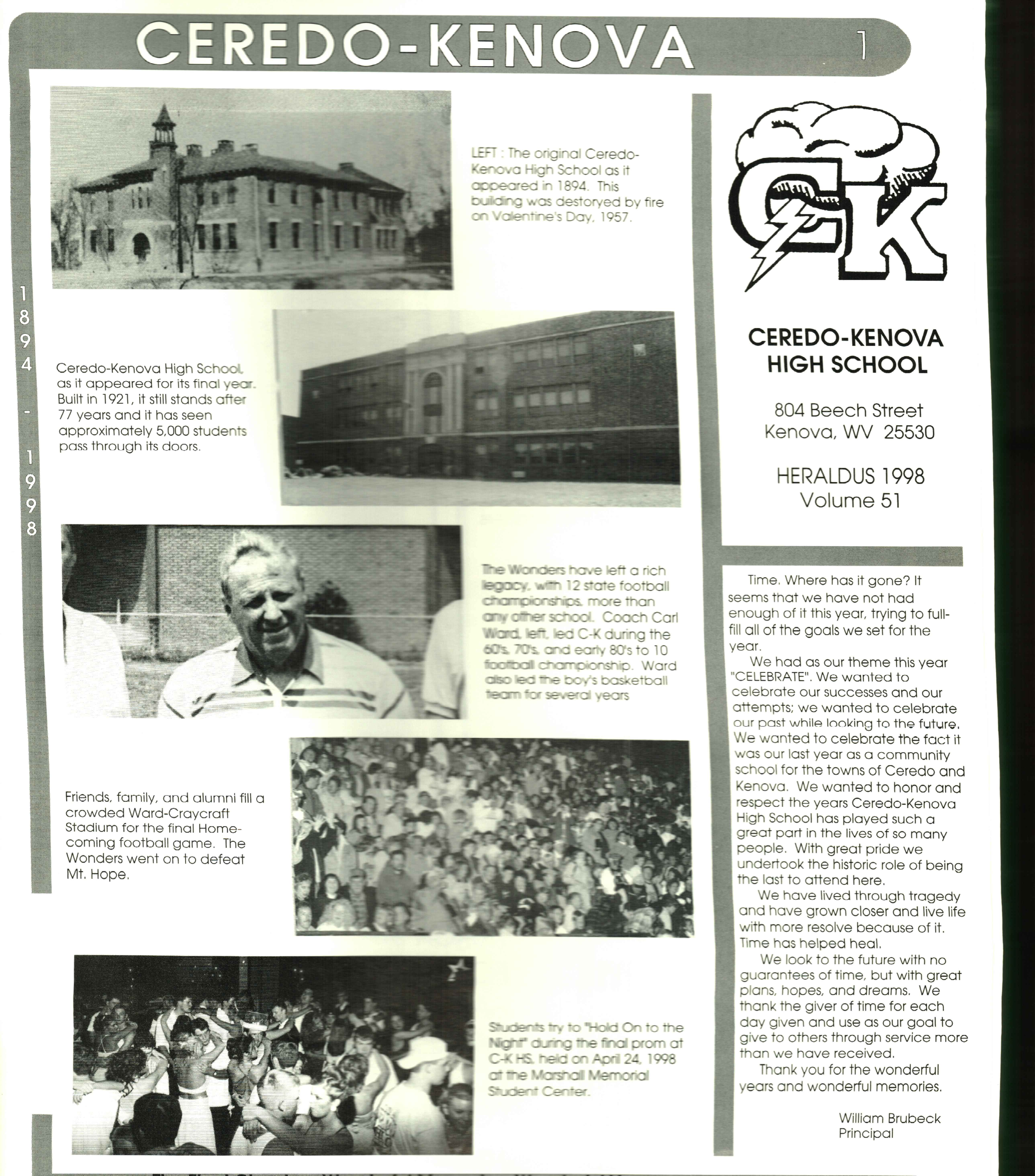 A page from the final C-K High yearbook in 1998. Courtesy of the Ceredo Historical Society Museum.