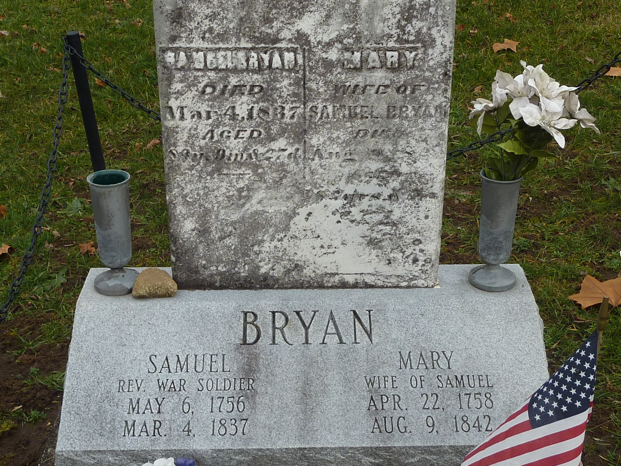 Original and modern tombstones at the graves of Samuel and Mary Bryan
