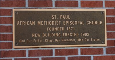 Bronze plaque commemorating new St. Paul A.M.E. Church building.