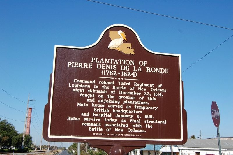 The Plantation of Pierre Denis De La Ronde marker is located opposite of the ruins of the main house.