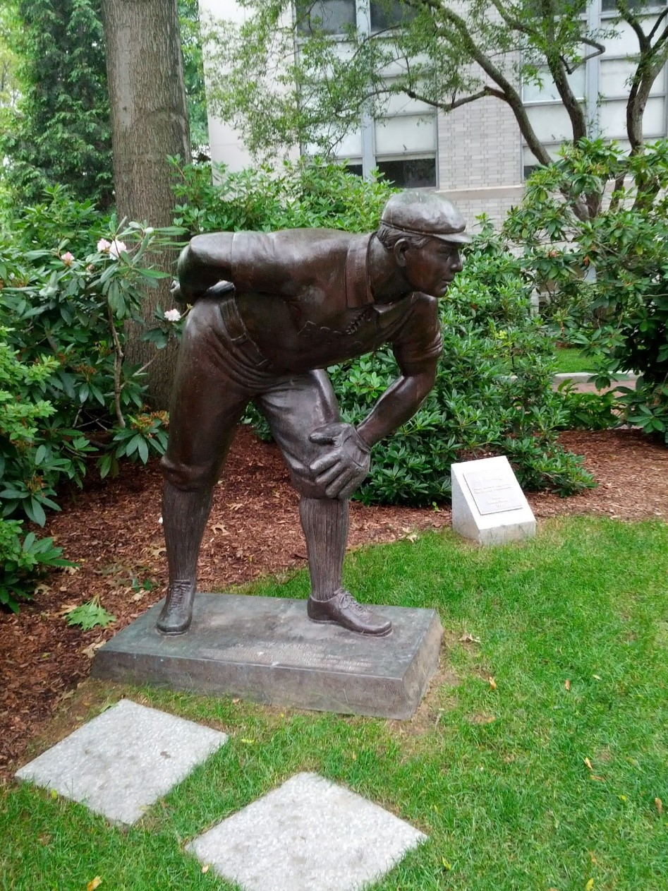 "The statue was erected in 1993 on the spot of the former pitcher's mound in the First World Series. The short roadway that runs adjacent to the memorial is called ""World Series Way."""