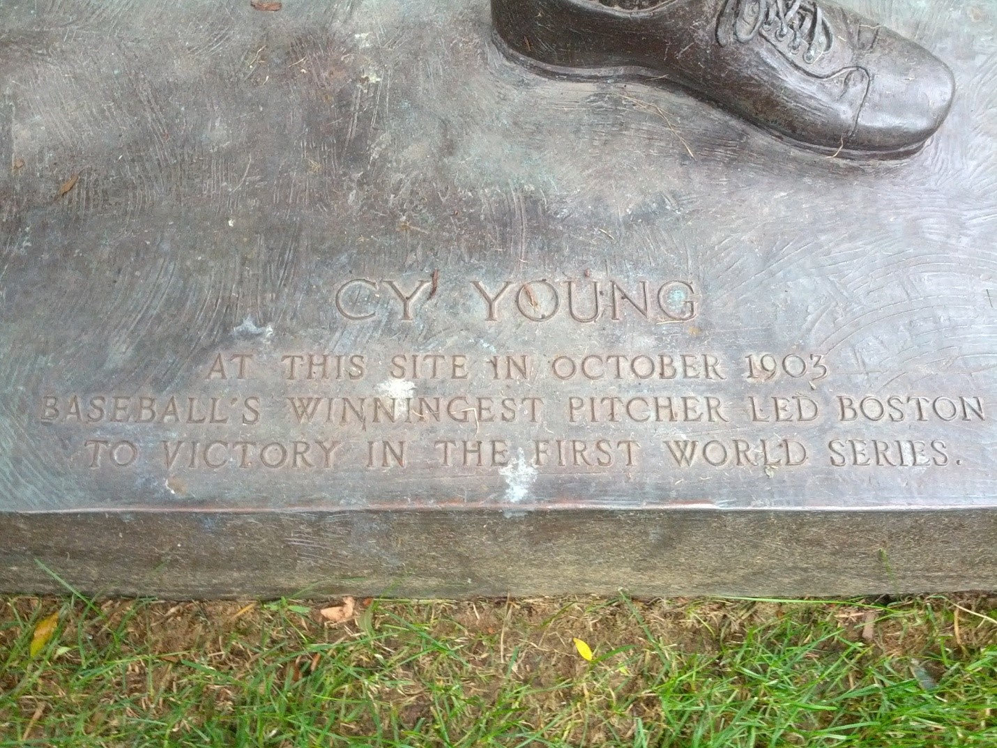 Inscription on Cy Young Statue at Northeastern University.