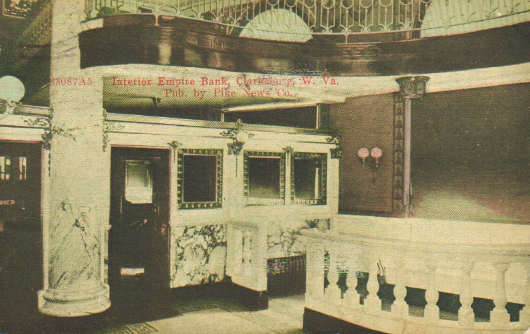 Color postcard of interior of Empire National Bank in 1911.