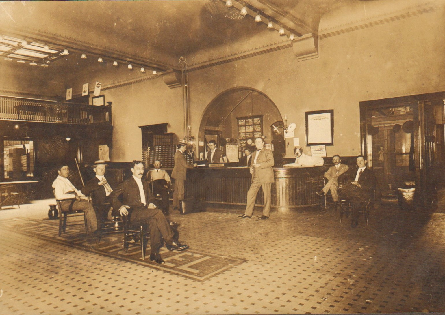 Photograph of the lobby of the Traders Hotel.