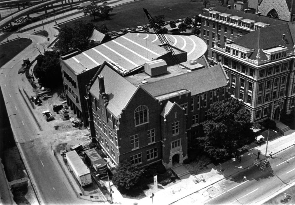 Another aerial shot of Sensenbrenner Hall showing the ongoing renovation to the Legal Research Center, circa 1982.