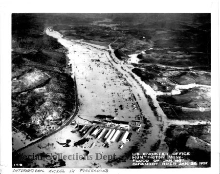 Aerial view of the nickel plant during the 1937 flood
