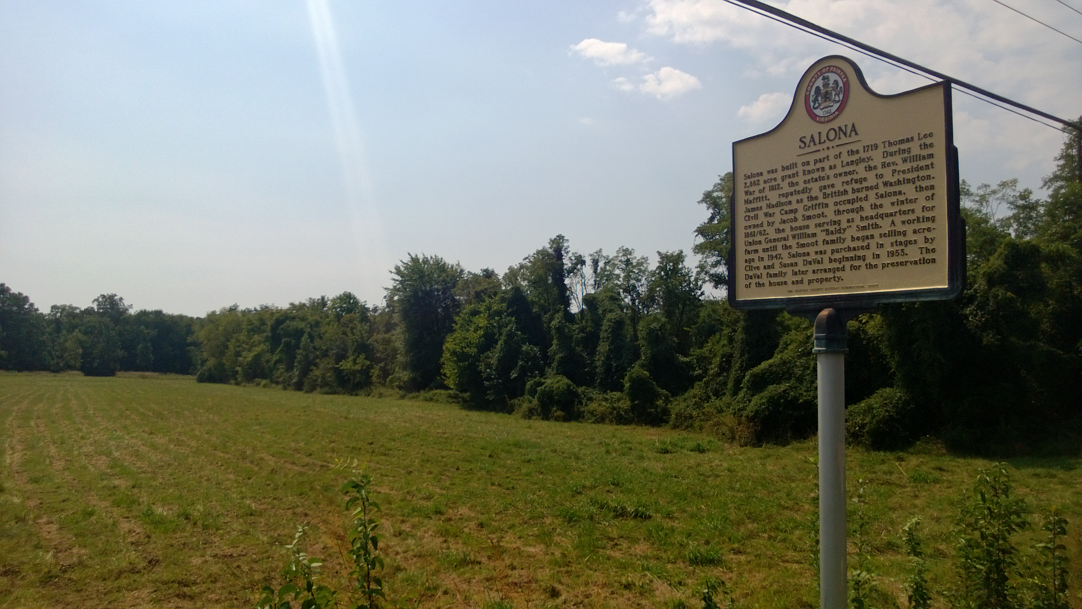 An image of the Salona (McLean, Virginia) field from the frontage on Dolly Madison Rd.
