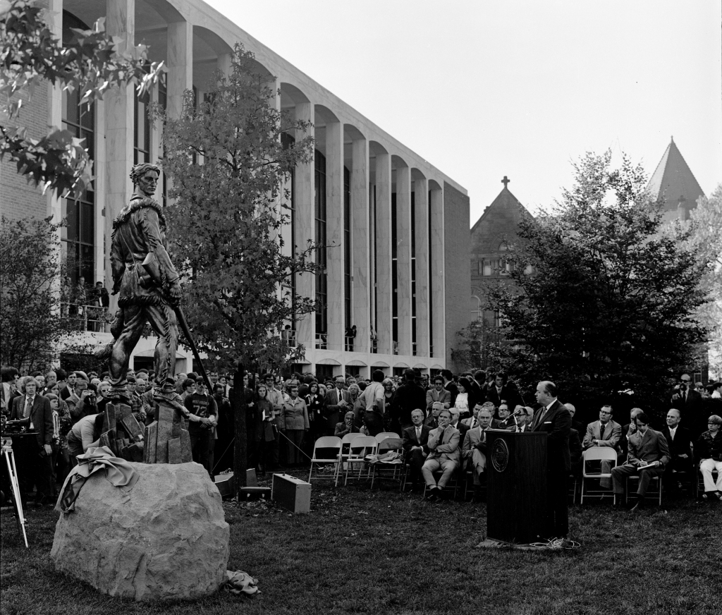 The Mountaineer Statue being dedicated in 1971.