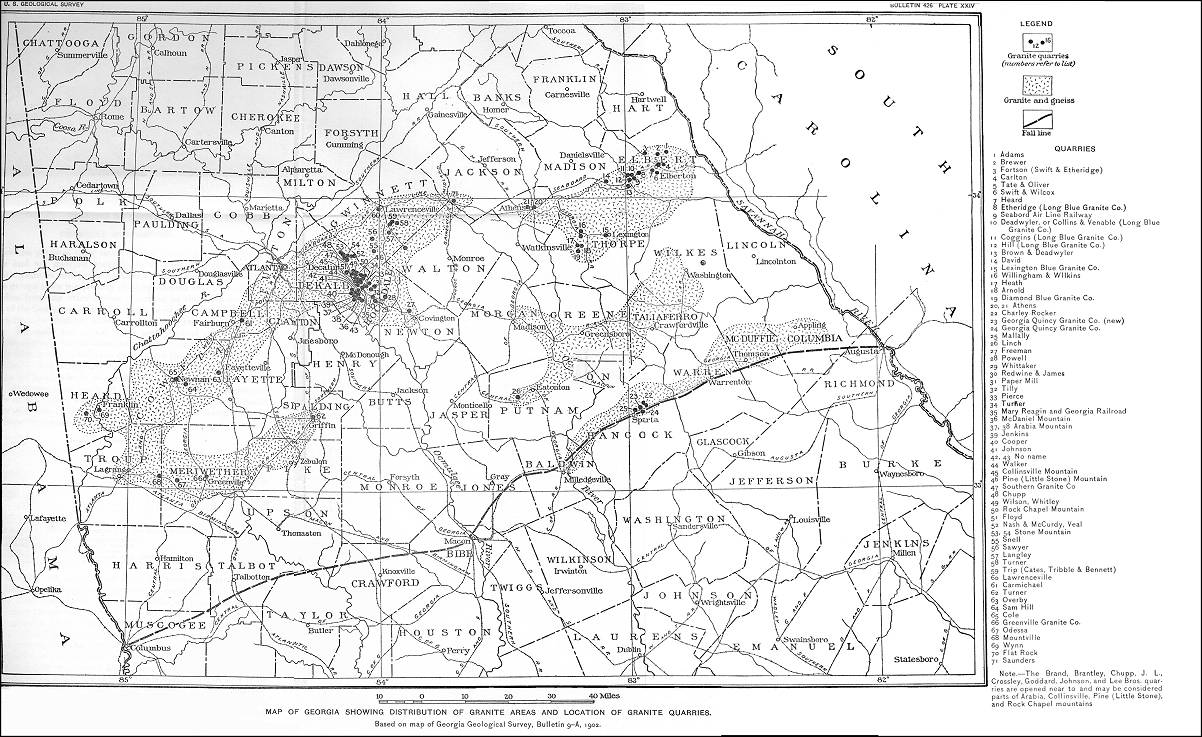 Map of Georgia Showing Distribution of Granite Areas and Location of Granite Quarries (circa 1902)