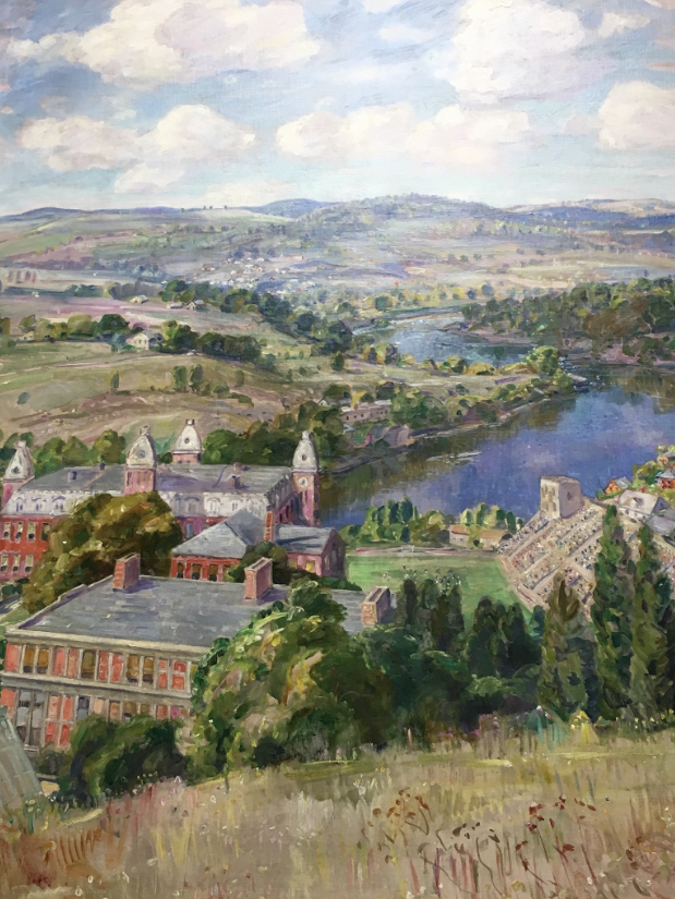 "George Gardner Symon's ""Flowing Outward and Beyond,"" oil on canvas, 1928, on display in the lobby of Elizabeth Moore Hall."