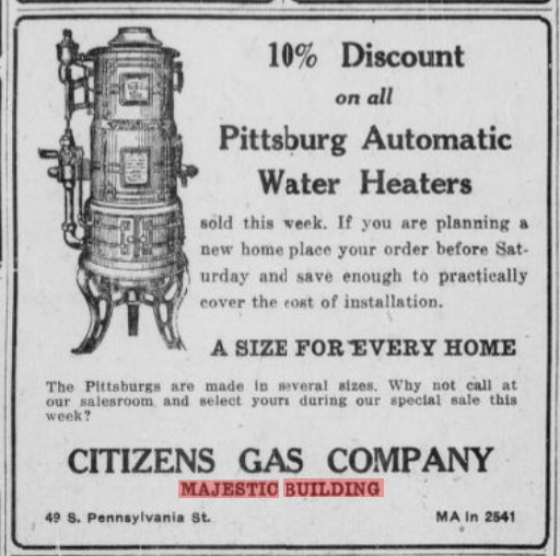 Citizens Gas Company 1924 newspaper ad for gas water heaters (Indianapolis Times May 15, 1924, p. 6