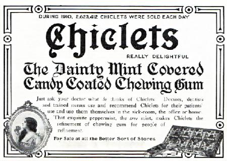 1912 ad for American Chicle gum
