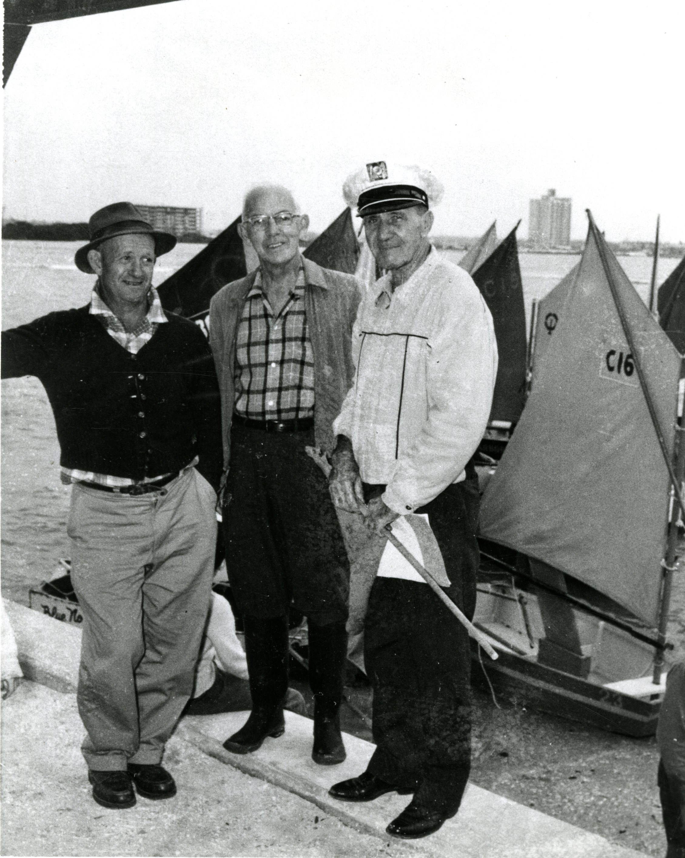 Clark E. Mills, Clifford McKay, and fleet captain Ernie Breen, Clearwater, Florida, circa 1948.