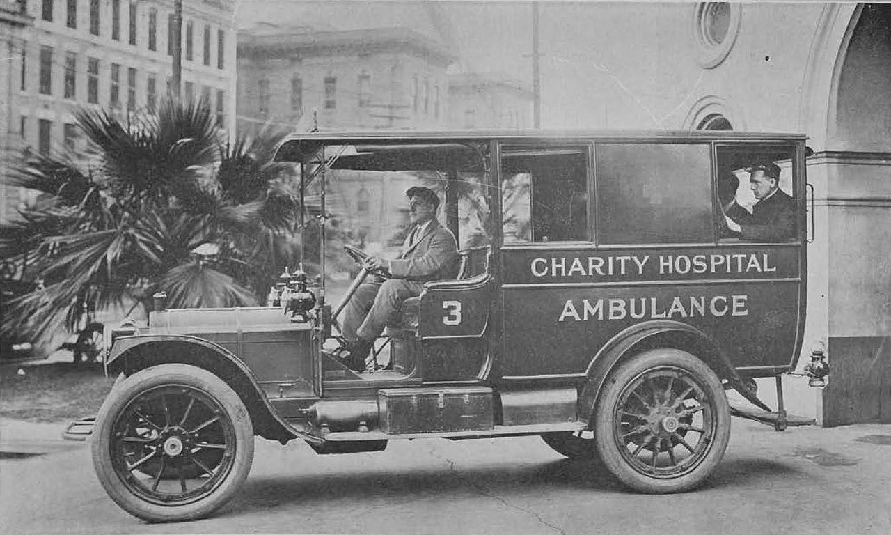 "Charity Hospital's ambulance. Circa 1912. Courtesy of the Internet Archive Book Images - Image from page 68 of ""Charity Hospital Report 1912"""