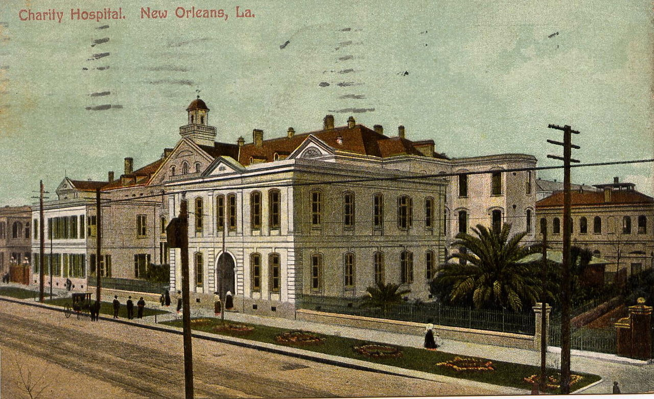 1900 postcard showing how the Charity Hospital appeared at that time.
