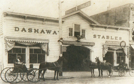 Historic photo of Dashaway Stables (image from the Ancient and Honorable Order of E Clampus Vitus Mountain Charlie No. 1850)
