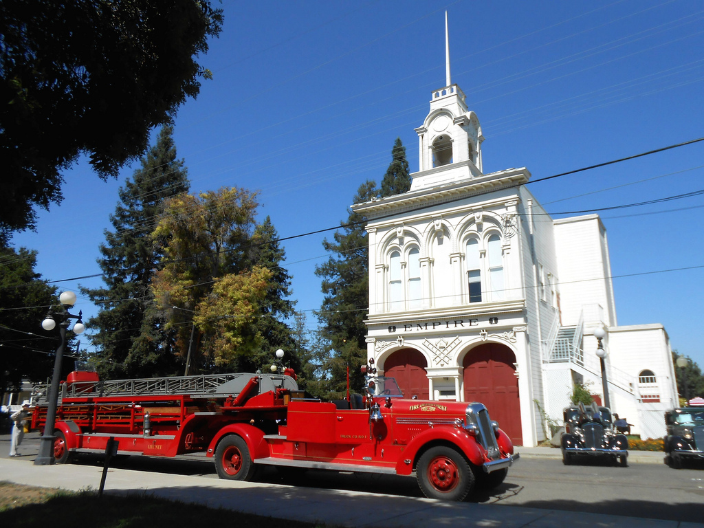 The Empire Fire Station during an antique auto event (image from San Jose in 2018)