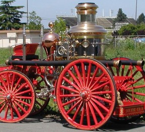 "Franklin Engine 3, the ""engine that saved San Jose"" during the fires resulting from the 1906 Earthquake (image from SJFM)"