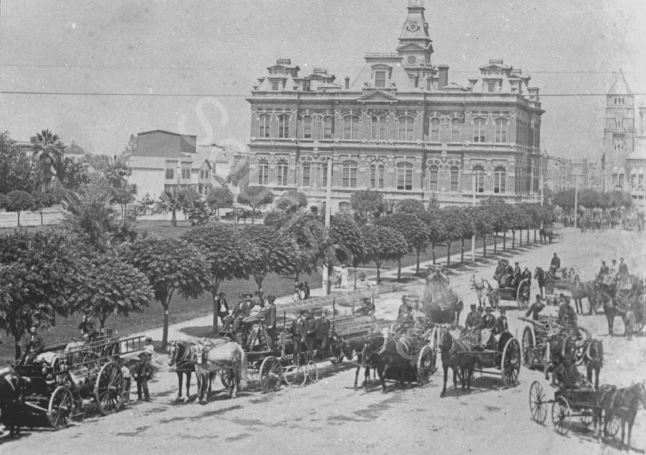 The 1876 professional Fire Department of San Jose with City Hall behind them (image from Sourisseau Academy)