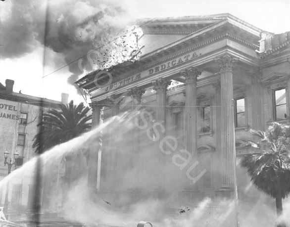 County Courthouse fire, 1931 (image from the Sourisseau Academy)