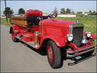 The 1931 Mack pumping engine purchased in response to the Courthouse Fire, which served until 1974 (image from SJFM)