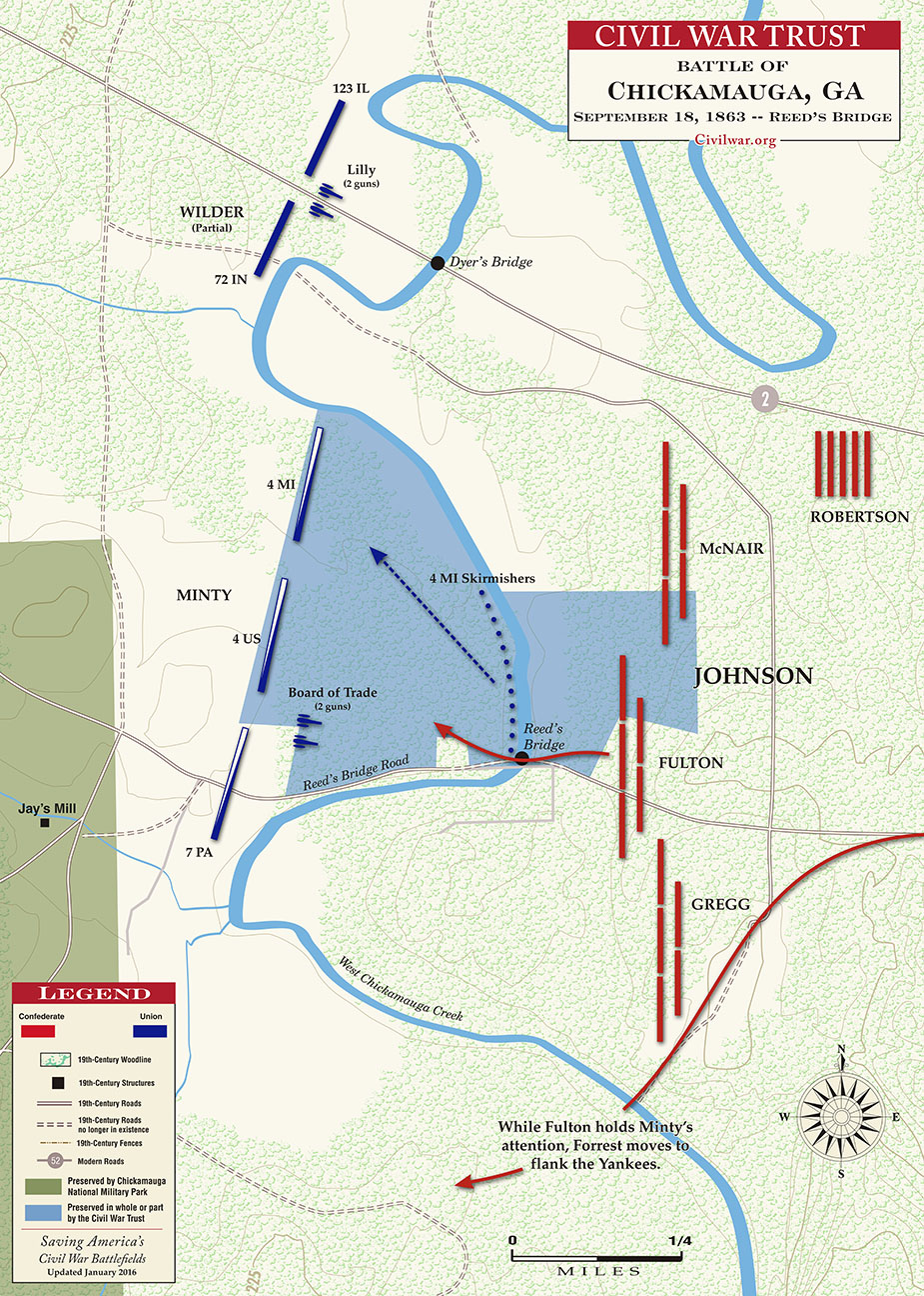 Battle map of the Battle of Chickamauga