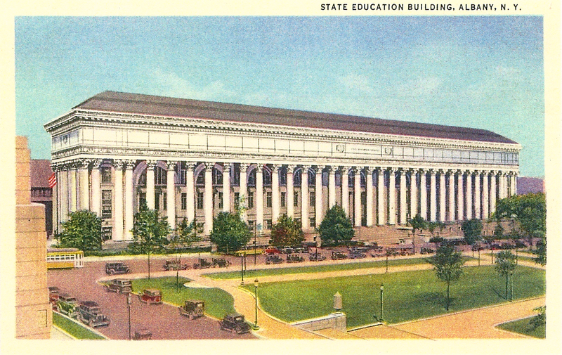 Postcard of the Education Department building from the early 1900s.