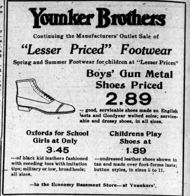 1919 Des Moines newspaper ad for Younker Brothers store (The Bystander 4-25-1919, p. 5)