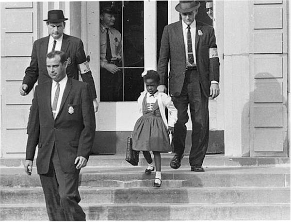 US Marshals escorting Ruby Bridges home after school