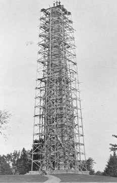 This is the Saratoga Monument under construction in the late 19th century. It took five years for the monument to be completed, from 1877 to 1883.