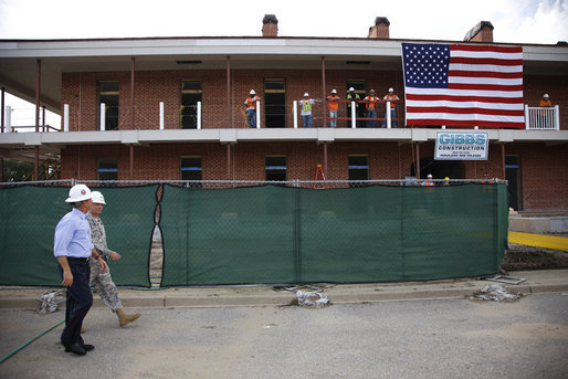 President George W. Bush in 2008 inspecting the reconstruction of Jackson Barracks