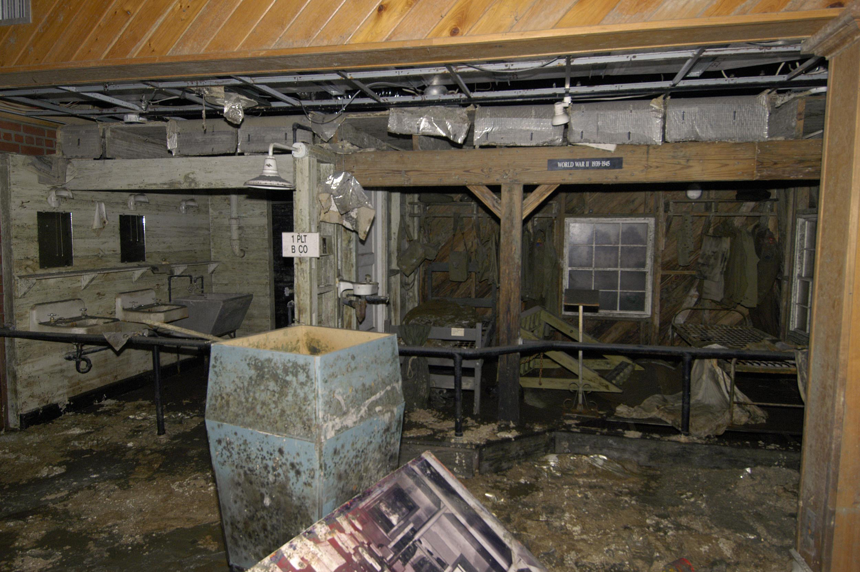 Some of the damage to the barracks done by Hurricane Katrina