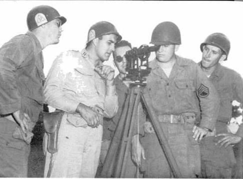 39th Division Artillery Training, 1950: During their annual training, soldiers of the 39th Division conduct Survey Training. Image Courtesy of The 39th Infantry Division 1950 / Louisiana National Guard, Office of the Adjutant General, 1950