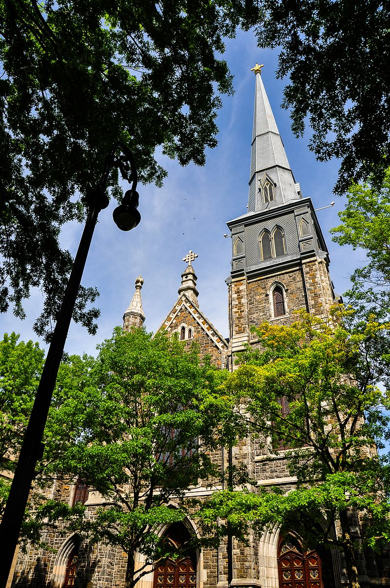 St. Mary's Church stands on tree-lined Hillhouse Ave., one of the most scenic streets in New Haven.