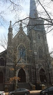 The church's pointed arches are characteristic of Gothic Revival architecture. (source: Burt Westermeier)