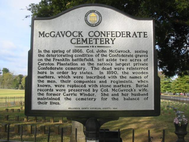 McGavock Confederate Cemetery sign