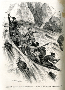 John C. Fremont and his team exploring the rivers