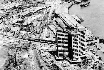 Taken sometime in the 1960s, this aerial photo shows the World Trade Center New Orleans building under construction