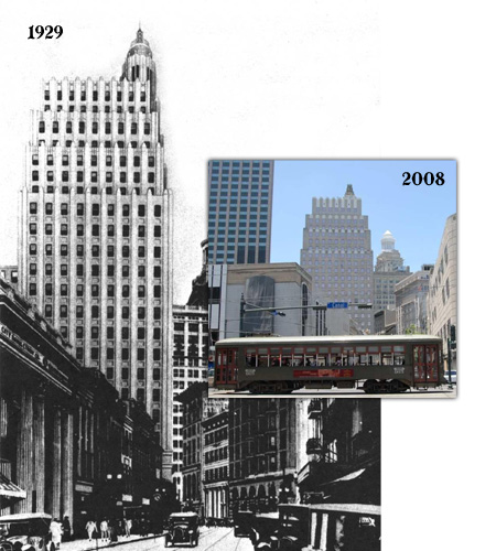 2 overlapped photos comparing the National American Bank Building and New Orlean's skyline in 1929 and 2008