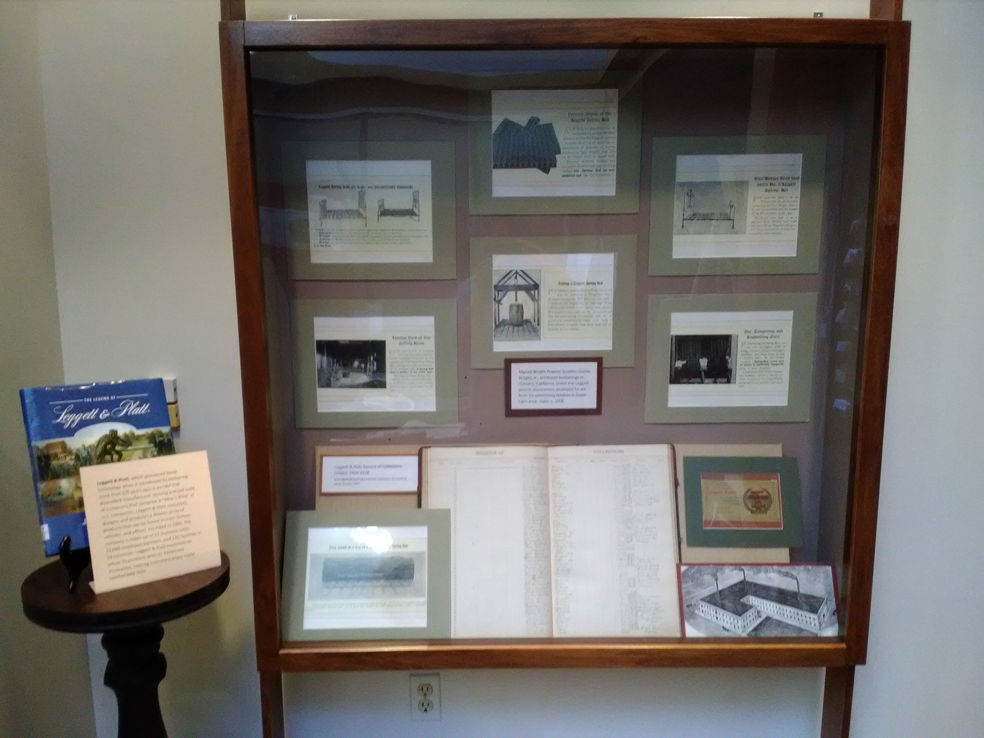 2017  Display case on Leggett & Platt, Inc., illustrated its early products of the early 20th century. The 175th Anniversary of Carthage Exhibit was made possible by generous Exhibit Partner Leggett & Platt, Inc.