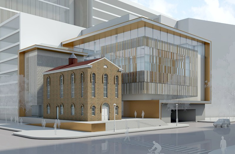 Rendering of the new Lillian & Albert Small Jewish Museum that will be constructed, including the synagogue, which was built in 1876.