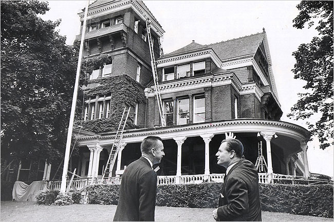 Governor Nelson Rockefeller (right) and Lt. Gov. Malcolm Wilson oversee the renovations of the mansion after the 1961 fire.