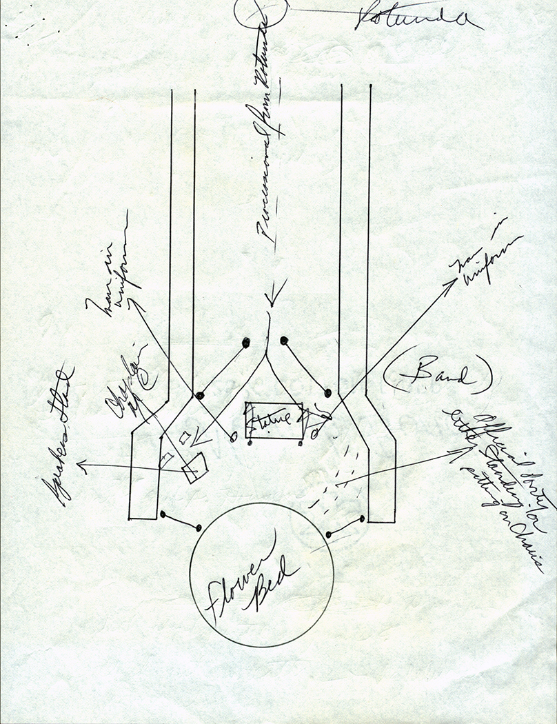 Hand-drawn plans for a commemoration ceremony to be held at the Hans C. Heg statue at the Wisconsin State Capitol, Madison, 1963. The pans include notations for the rotunda, statue, walkway and flower bed, as well as placement for the band, speakers and military servicemembers.
