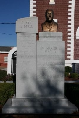 """The """"I Had a Dream"""" historical marker outside of the Browns Chapel AME Church symbolized the most important advancement in civil rights history and represents the efforts made to achieve equal voting rights for African Americans. At the top of the marker"""