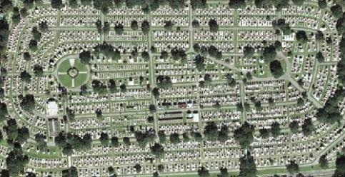 Aerial view of the cemetery. You can see the cemetery was indeed built within the old horse track course.