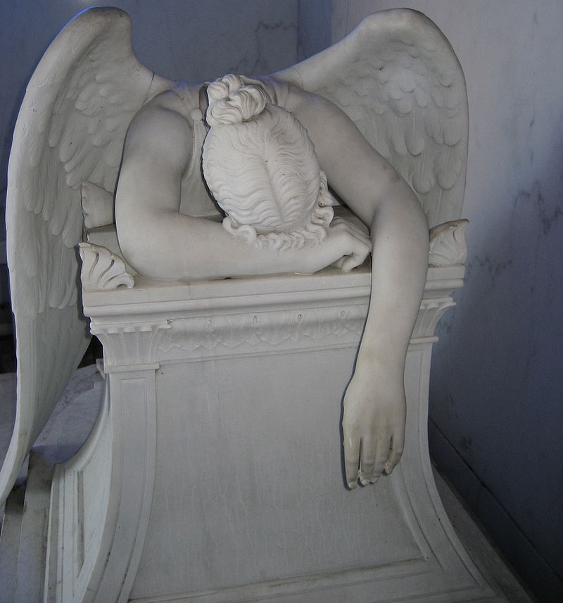 Marble statuary monument to Chapman H. Hyams' sisters. The sculpture is a copy of Story's Angel of Grief
