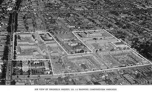 1950s-1960s aerial view with overlay depicting the Magnolia Projects