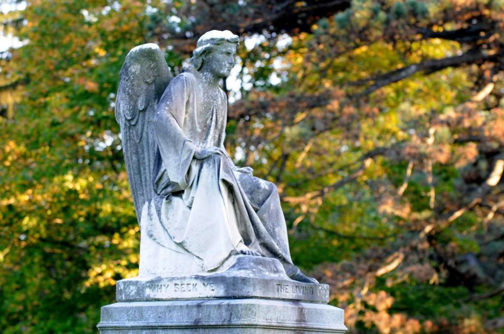 "One of the more famous sculptures at ARC is Erastus Palmer's ""Angel at the Sepulcher"" at the grave of Emma Rathbone Turner."