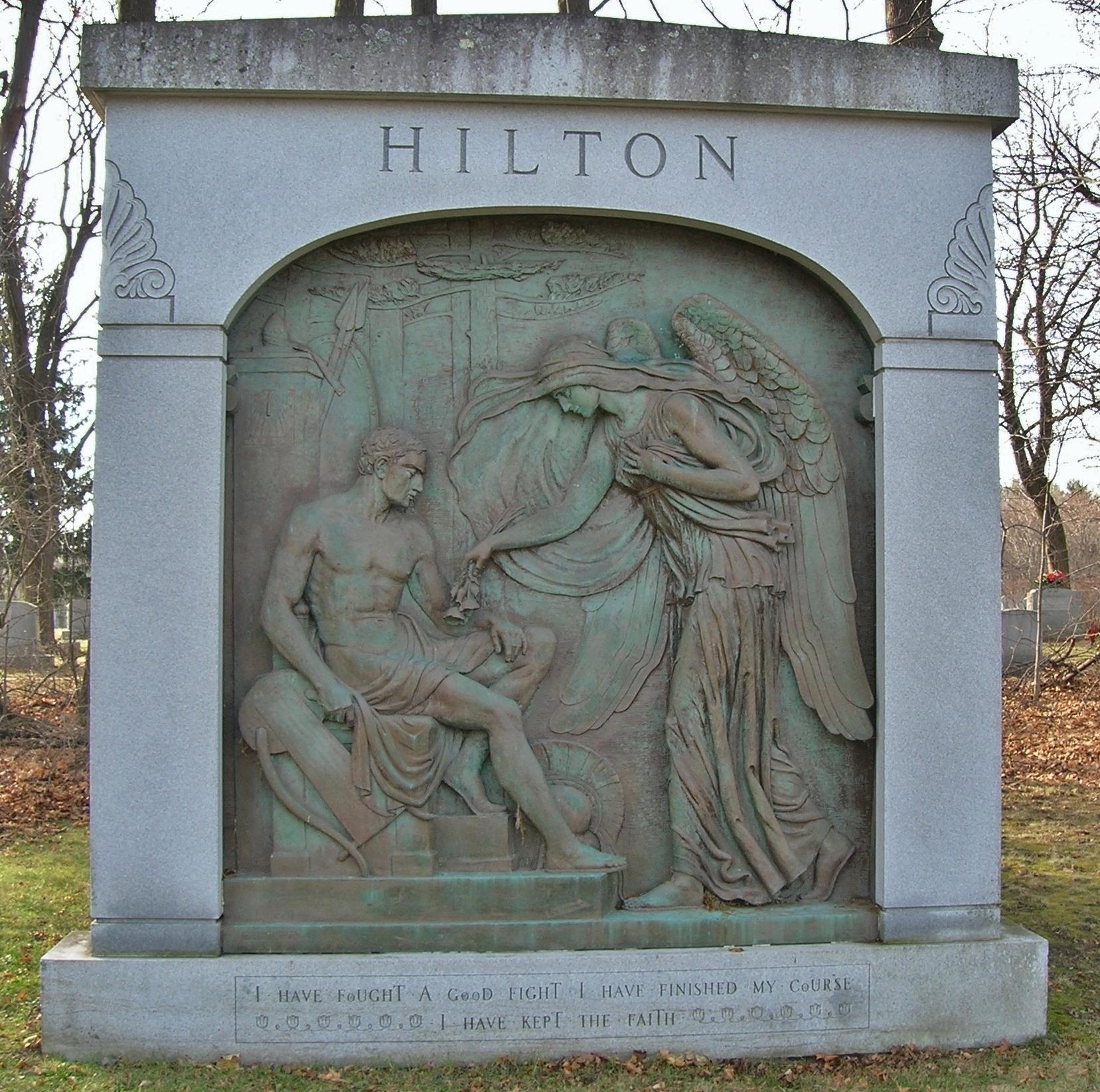 The Hilton Mausoleum features a sculpture by Oscar Lenz.